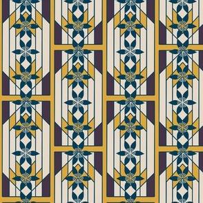Art Deco Style Windowpane with Geometric Flower Stripes in Indigo Blue, Gold, and Khaki