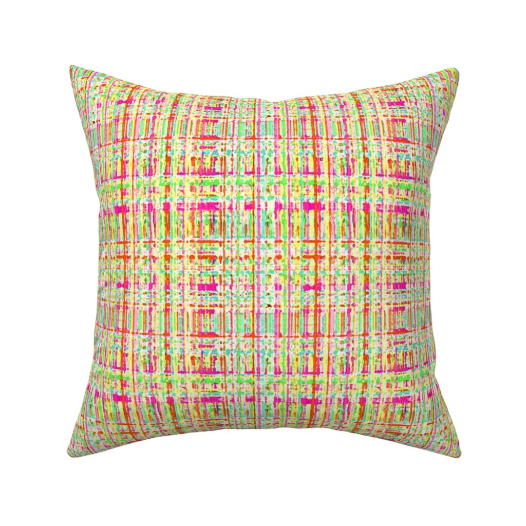 Catalan Throw Pillow featuring Painted Linen No. 3 in Tropical Neon Rainbow by elliottdesignfactory