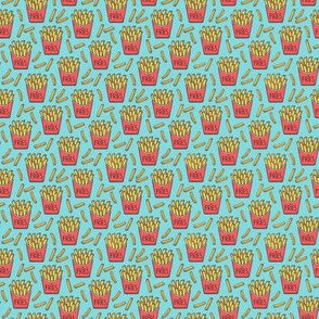 French Fries Fast Food Red on Blue Tiny Small