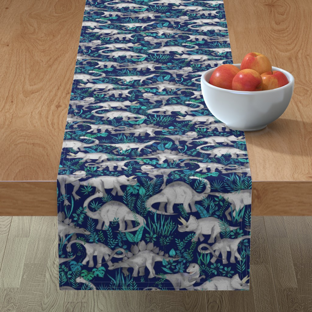 Minorca Table Runner featuring Dinosaur Jungle Dark Blue Purple Background medium print by micklyn