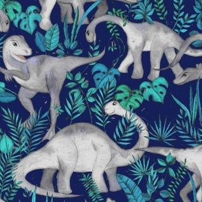 Dinosaur Jungle Dark Blue Purple Background medium print