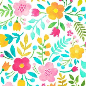 Watercolour Floral Doodle Pink Yellow