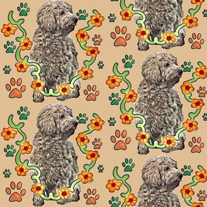 goldendoodle pawsprints and flowers