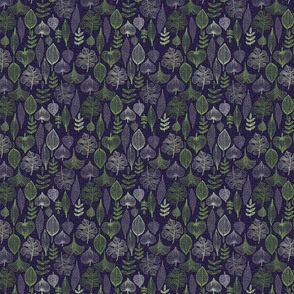 Green leaves on purple background