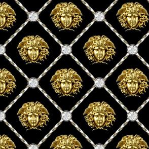 2 diamonds jewels gems trellis interlinked criss cross interconnected connected medusa baroque rococo gold silver black white Greek Greece gorgons mythology versace inspired