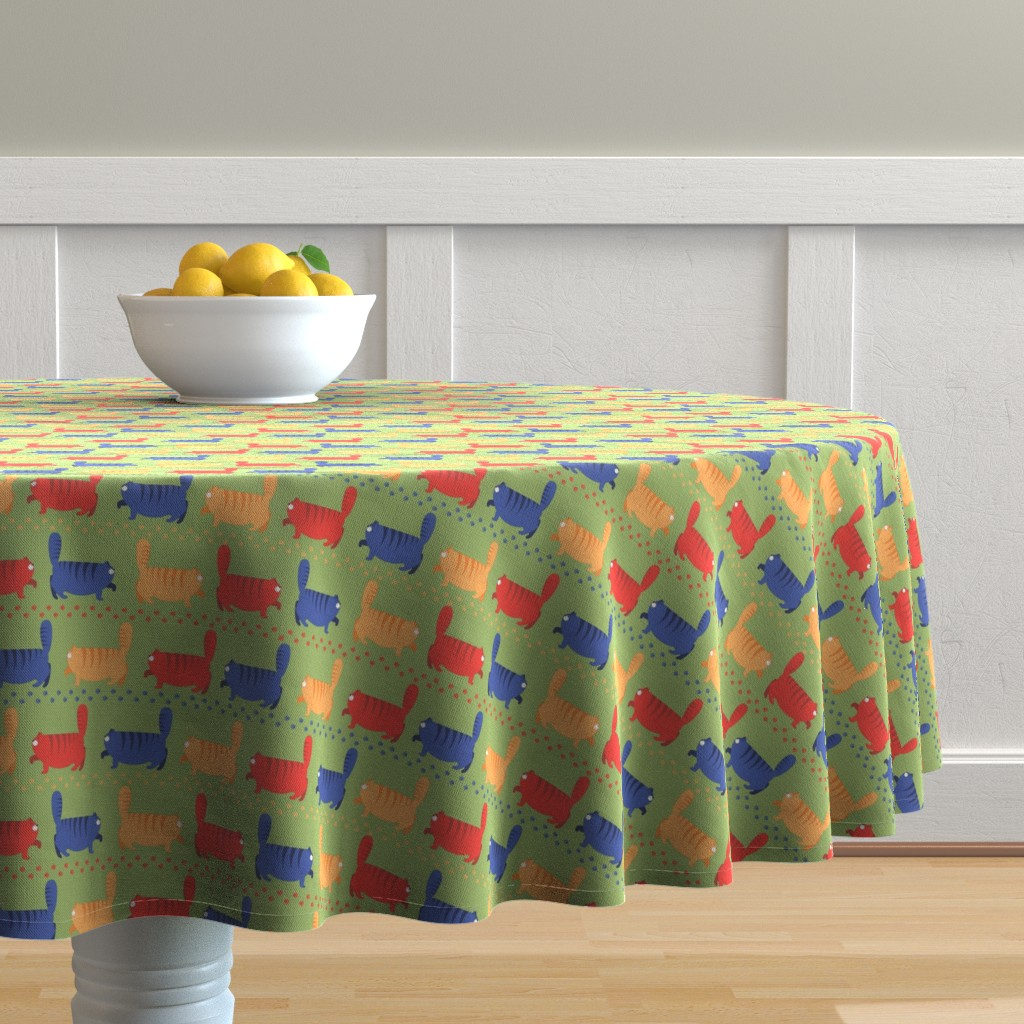 Malay Round Tablecloth featuring cats stroll by minyanna