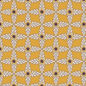 Golden Yellow Diamond Print of Floral Lattice