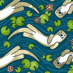 Otter and Water Lily