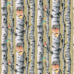 birch trees small scale