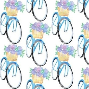 Blue Bicycle with Hydrangeas