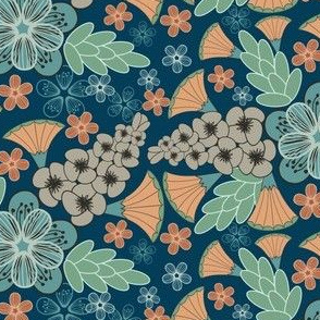Vintage Style Floral, Earth Tones