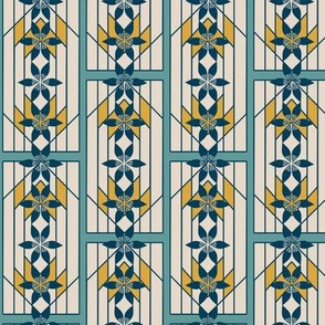 Art Deco Style Stripes in Indigo, Teal and Gold