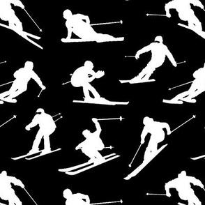 Skiers on Black // Small