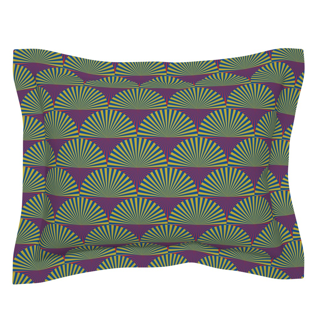 Sebright Pillow Sham featuring Deco Sunburst Scales by elizabethmay