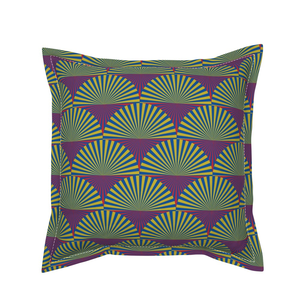 Serama Throw Pillow featuring Deco Sunburst Scales by elizabethmay