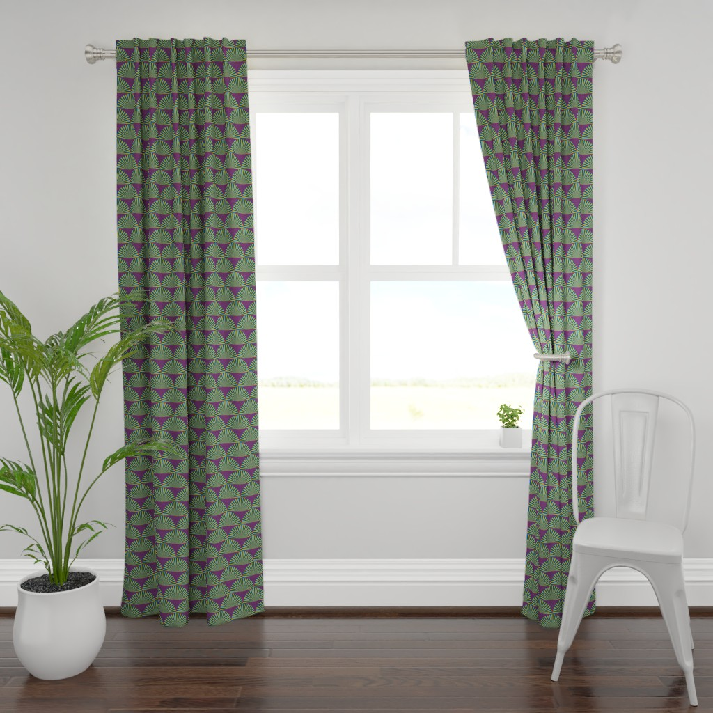 Plymouth Curtain Panel featuring Deco Sunburst Scales by elizabethmay