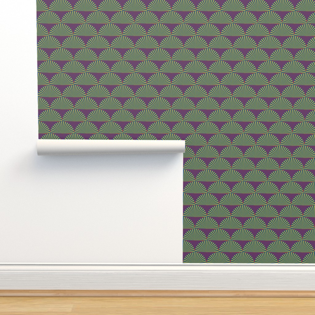 Isobar Durable Wallpaper featuring Deco Sunburst Scales by elizabethmay