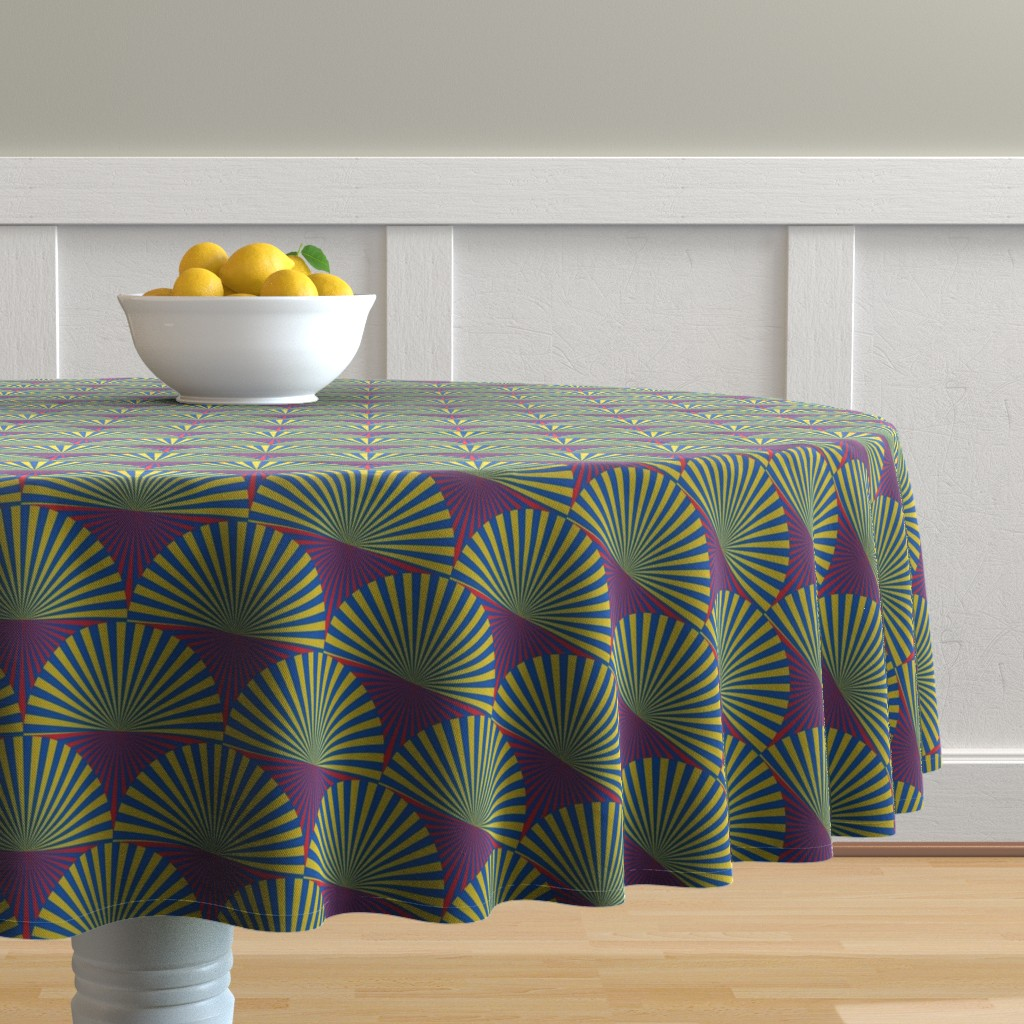 Malay Round Tablecloth featuring Deco Sunburst Scales by elizabethmay