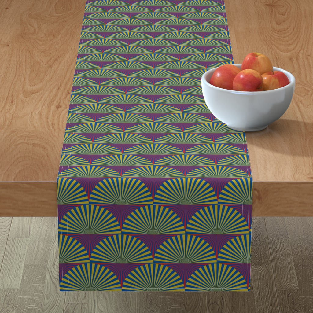 Minorca Table Runner featuring Deco Sunburst Scales by elizabethmay