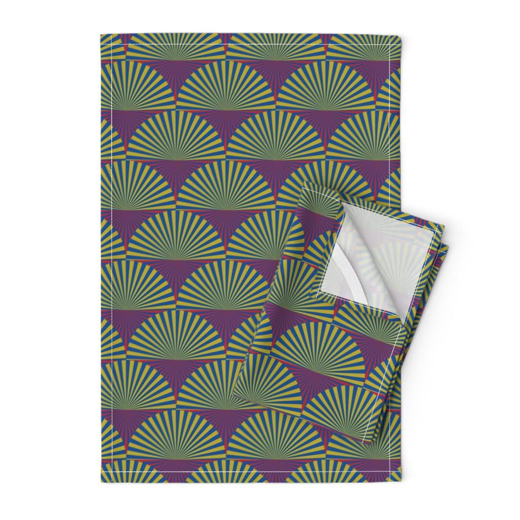Orpington Tea Towels featuring Deco Sunburst Scales by elizabethmay
