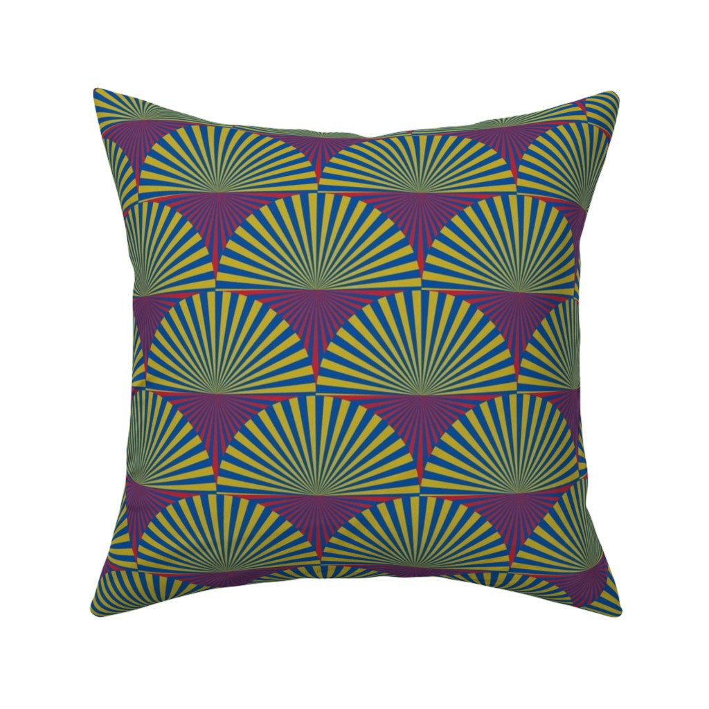 Catalan Throw Pillow featuring Deco Sunburst Scales by elizabethmay