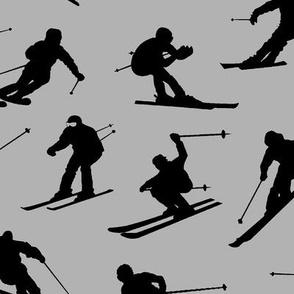 Skiers on Grey // Large