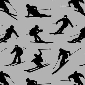Skiers on Grey // Small