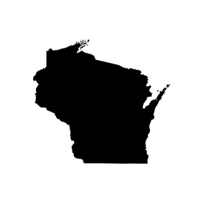 "Wisconsin silhouette - 18"" black on white"