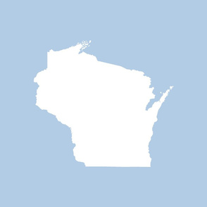 "Wisconsin silhouette - 18"" white on light blue"