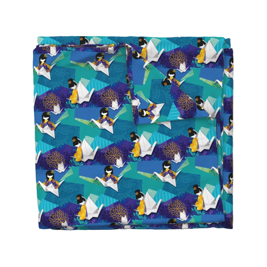 Wyandotte Duvet Cover featuring origami & kokeshi by elodie-lauret