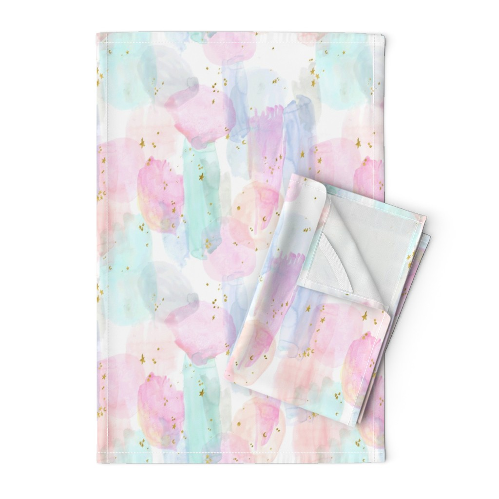 Orpington Tea Towels featuring Rainbow-Stars-Watercolor-Abstract_Small by crystal_walen