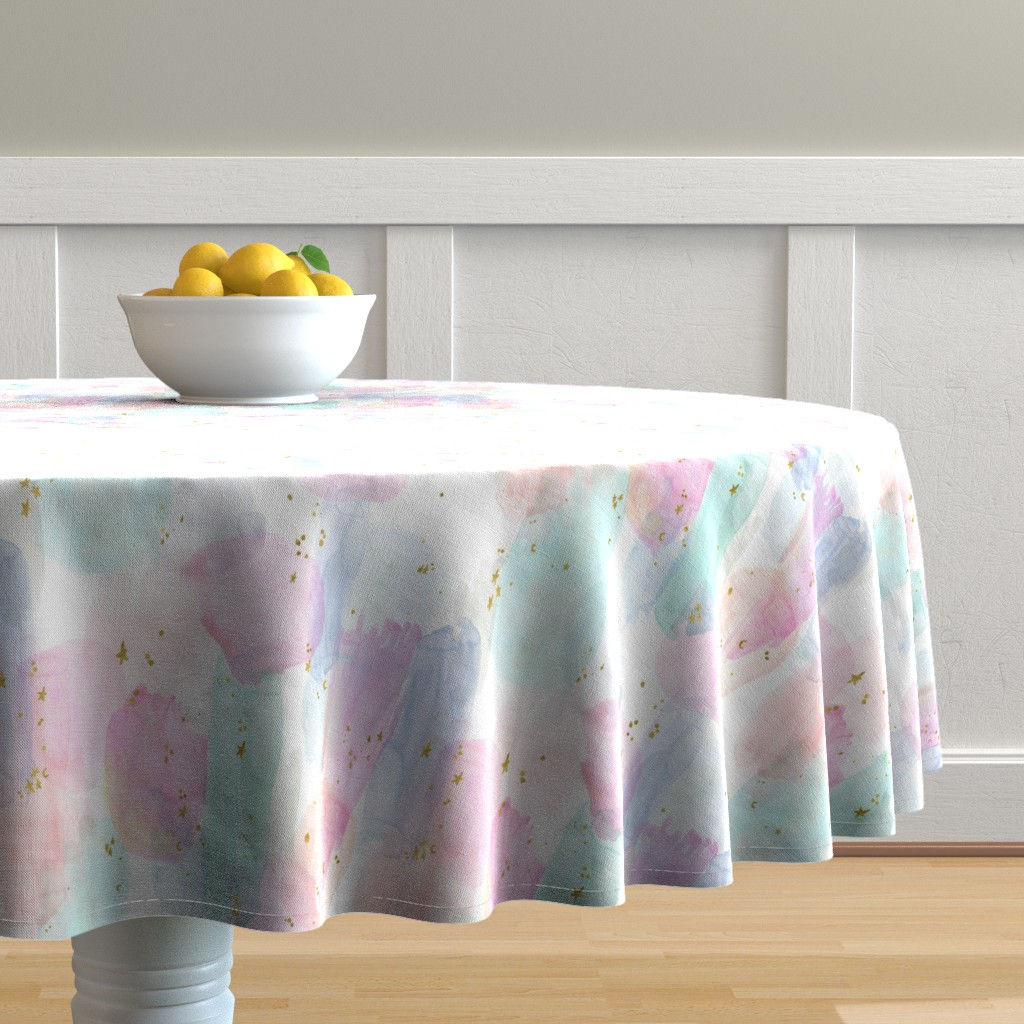 Malay Round Tablecloth featuring Rainbow-Stars-Watercolor-Abstract_Small by crystal_walen