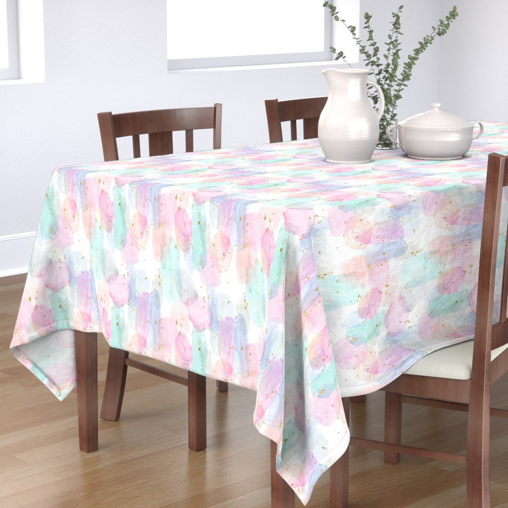 Bantam Rectangular Tablecloth featuring Rainbow-Stars-Watercolor-Abstract_Small by crystal_walen