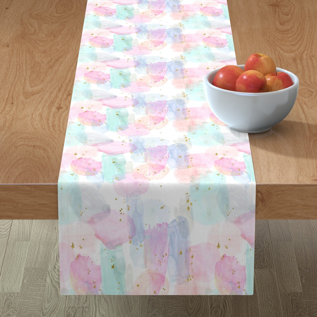 Minorca Table Runner featuring Rainbow-Stars-Watercolor-Abstract_Small by crystal_walen