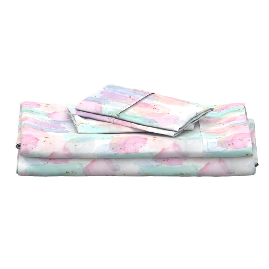 Langshan Full Bed Set featuring Rainbow-Stars-Watercolor-Abstract_Small by crystal_walen