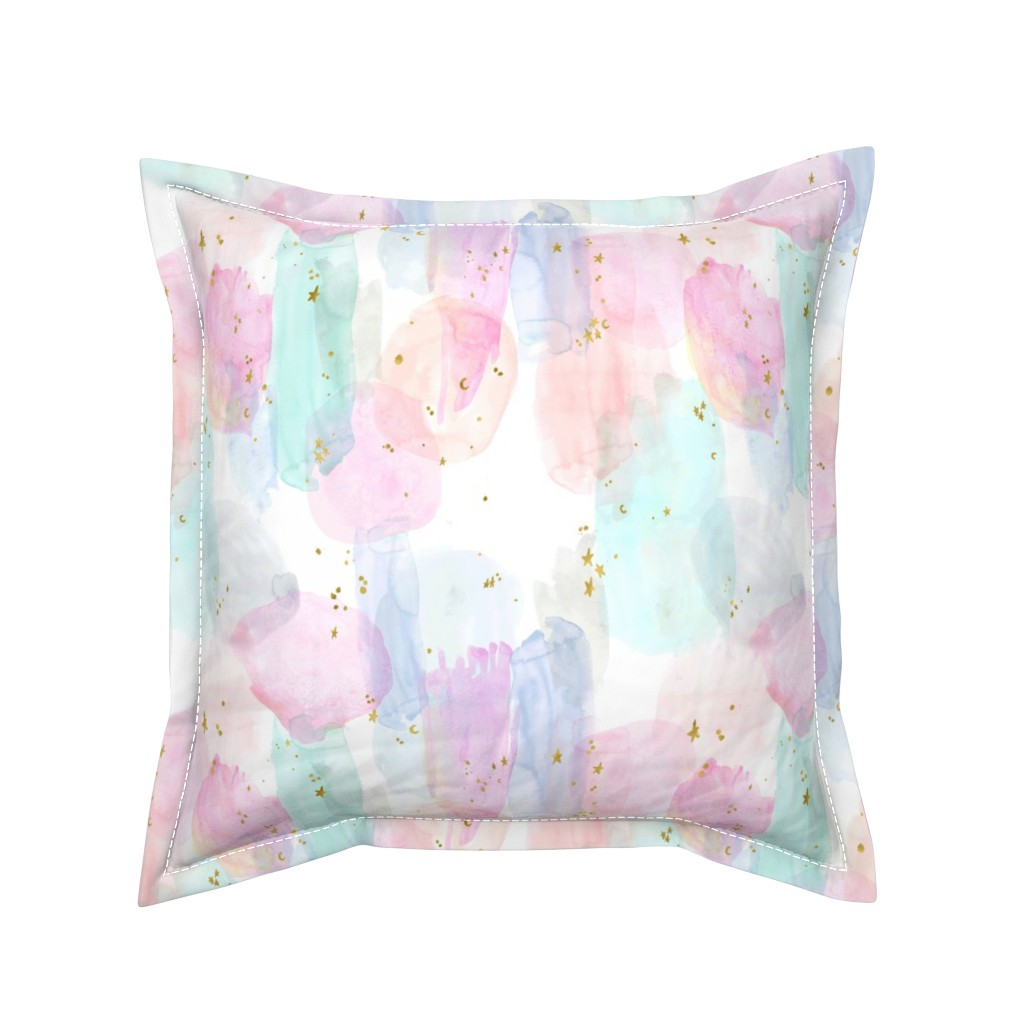 Serama Throw Pillow featuring Rainbow-Stars-Watercolor-Abstract_Small by crystal_walen