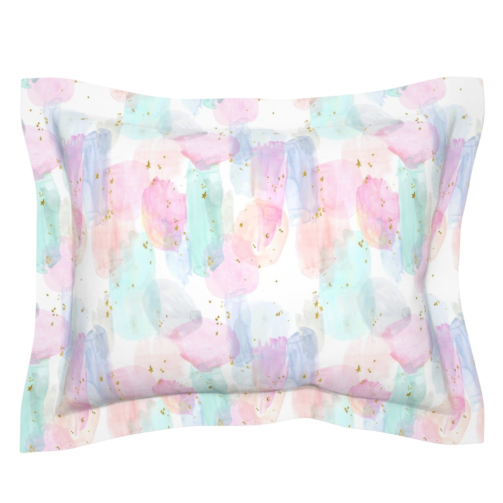 Sebright Pillow Sham featuring Rainbow-Stars-Watercolor-Abstract_Small by crystal_walen