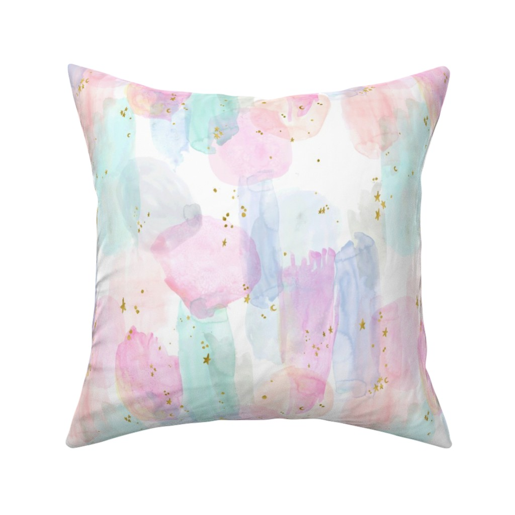Catalan Throw Pillow featuring Rainbow-Stars-Watercolor-Abstract_Small by crystal_walen