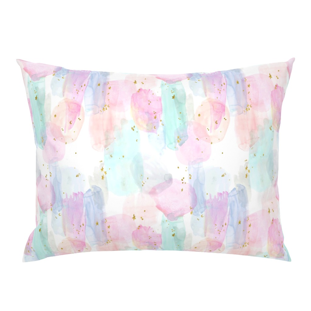 Campine Pillow Sham featuring Rainbow-Stars-Watercolor-Abstract_Small by crystal_walen
