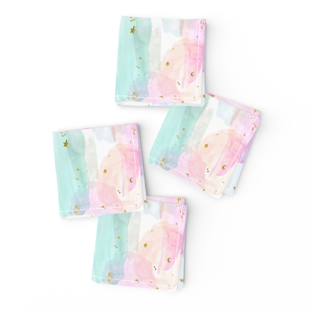 Frizzle Cocktail Napkins featuring Rainbow-Stars-Watercolor-Abstract_Small by crystal_walen