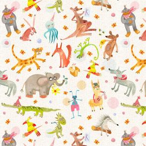 Watercolor happy animals