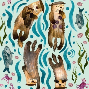 Otters floating in water