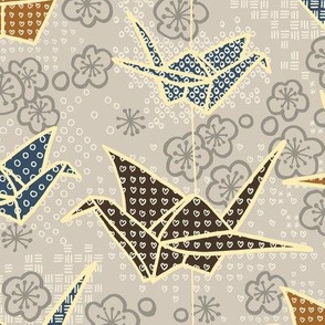Origami Cranes Earth Tones
