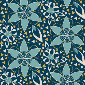 Large Geometric Floral Print with Triangles in Teal, Indigo, and Gold 1920s Art Deco Style