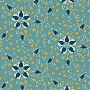 Art Deco Triangles and Geometric Flowers in Teal and Gold