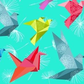 Origami birds take flight