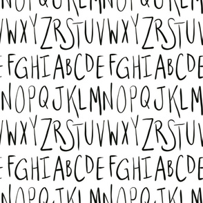 black and  white alphabet- upper case