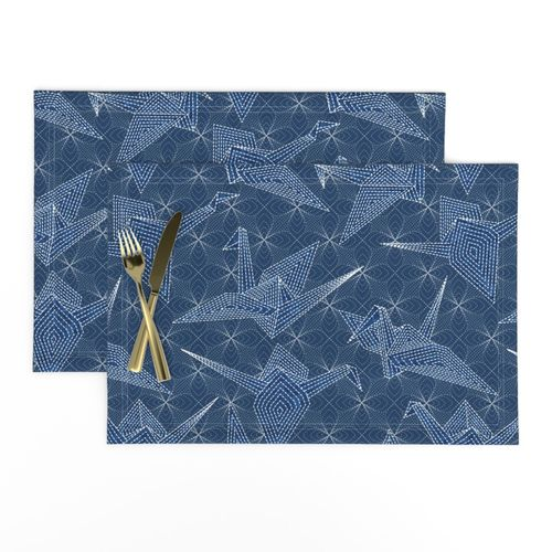 Embroidery Birds  Indigo  Cotton Sateen Table Runner by Spoonflower Sashiko Blue Cranes  by vo/_aka/_virginiao Origami Cranes Table Runner