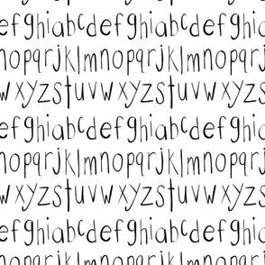 Black and white alphabet -lower case