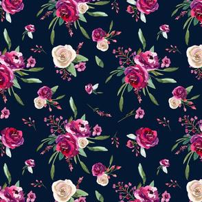 navy blue deep pink watercolor floral